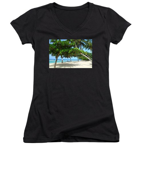 Natures Umbrella Tree Women's V-Neck (Athletic Fit)