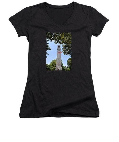 Nc State Memorial Bell Tower And Us Flag Women's V-Neck