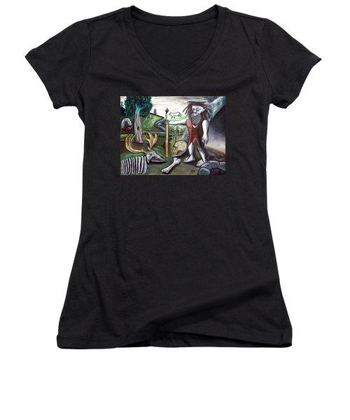 Neander Valley Women's V-Neck T-Shirt (Junior Cut) by Ryan Demaree
