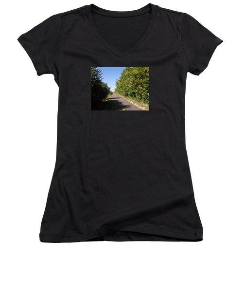 Neighborhood Bicycle And Walking Trail Women's V-Neck T-Shirt