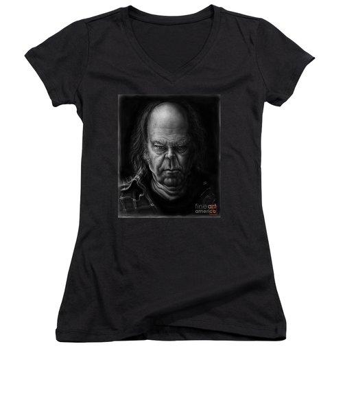 Neil Young Women's V-Neck T-Shirt (Junior Cut) by Andre Koekemoer