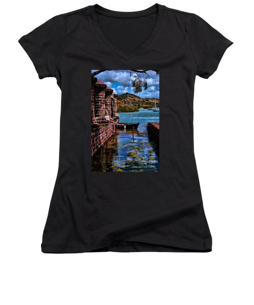 Nelson's Dockyard Antigua Women's V-Neck T-Shirt