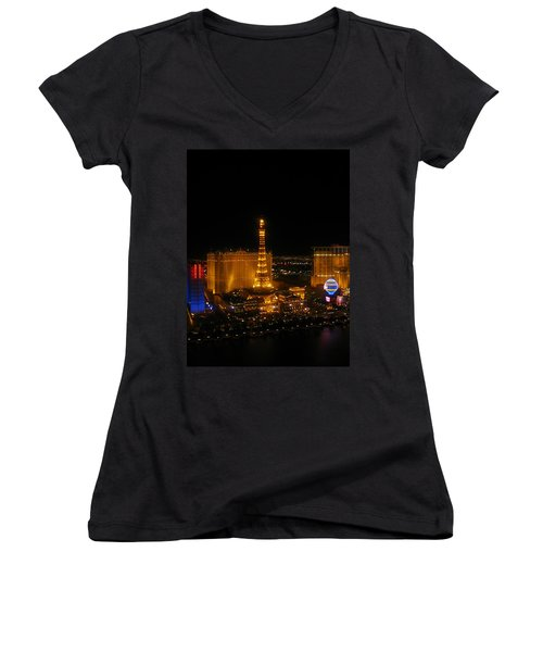 Women's V-Neck T-Shirt (Junior Cut) featuring the photograph Neon Illusion by Angela J Wright