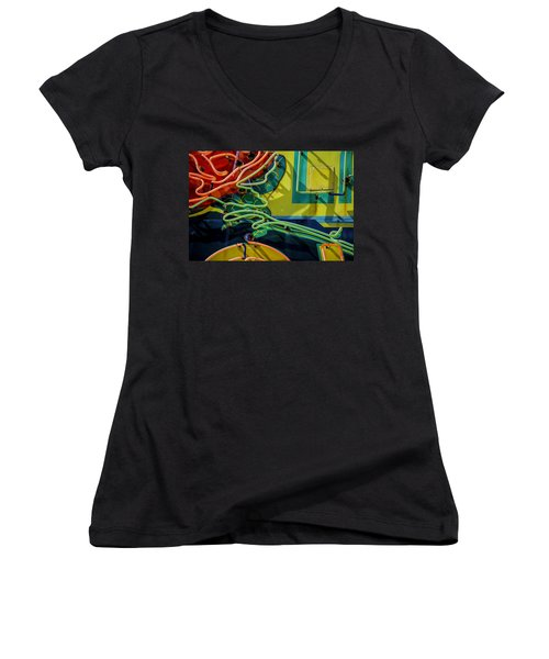 Neon Rose Women's V-Neck (Athletic Fit)