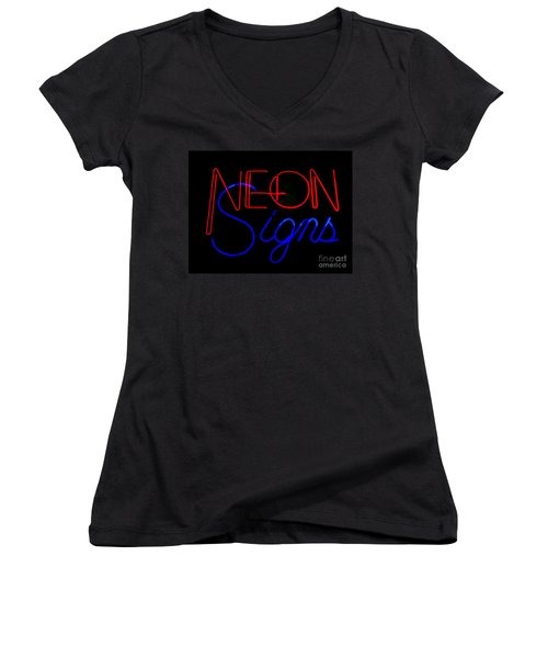 Neon Signs In Black Women's V-Neck T-Shirt (Junior Cut) by Kelly Awad
