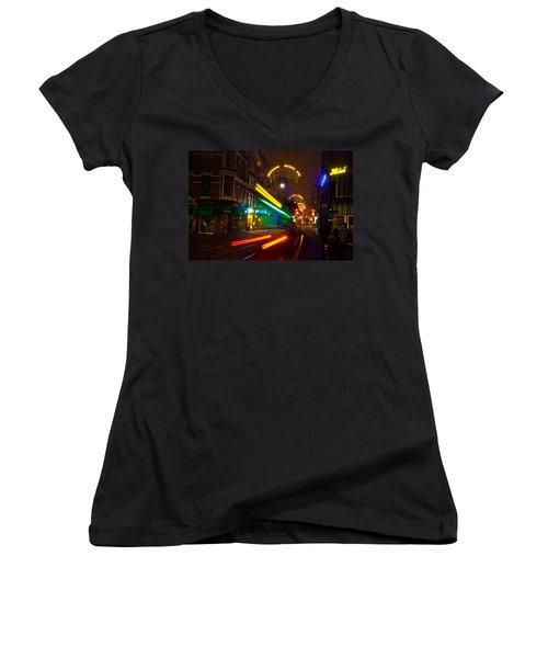 Neon Tram Leidestraat Women's V-Neck T-Shirt (Junior Cut) by Jonah  Anderson