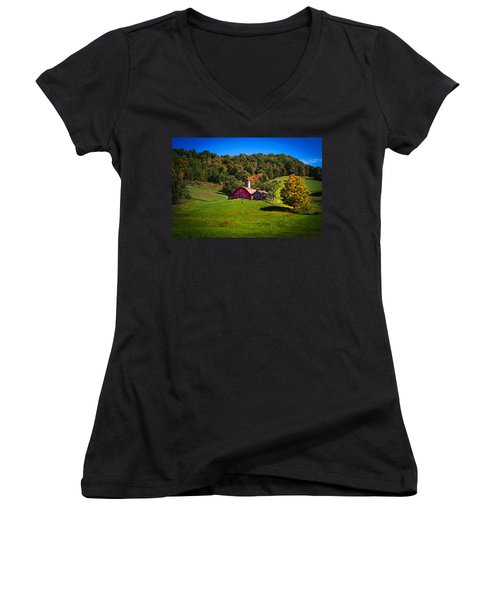 nestled in the hills of West Virginia Women's V-Neck T-Shirt (Junior Cut) by Shane Holsclaw