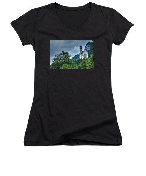 Women's V-Neck T-Shirt (Junior Cut) featuring the photograph Neuschwanstein Castle by Joe  Ng