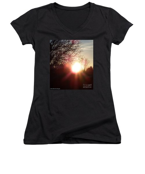 Nevada Sunset Women's V-Neck T-Shirt (Junior Cut) by Bobbee Rickard