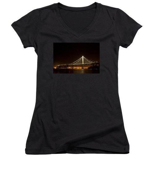 New Bay Bridge Women's V-Neck T-Shirt (Junior Cut) by Bill Gallagher