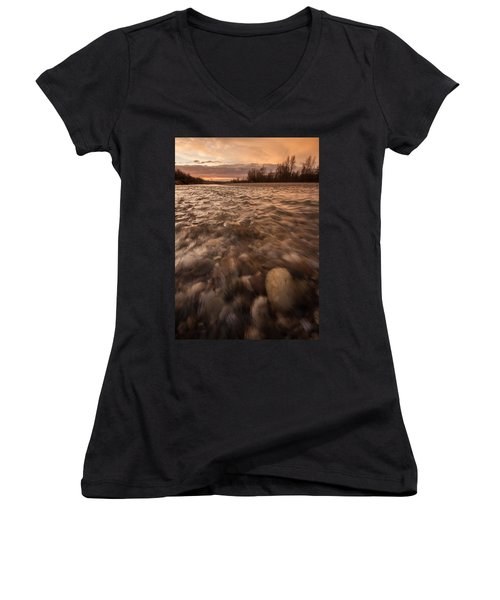Women's V-Neck T-Shirt (Junior Cut) featuring the photograph New Dawn by Davorin Mance