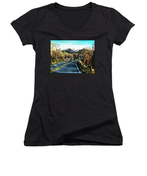 Women's V-Neck T-Shirt (Junior Cut) featuring the painting New England Drive by Shana Rowe Jackson