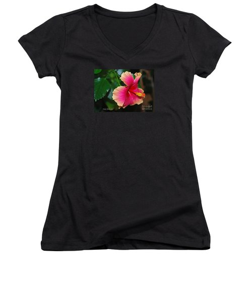 New Every Morning - Hibiscus Women's V-Neck T-Shirt (Junior Cut) by Connie Fox