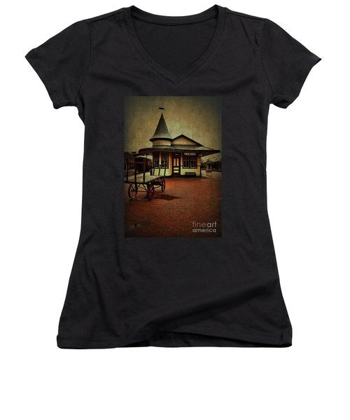 Women's V-Neck T-Shirt (Junior Cut) featuring the photograph New Hope Ivyland Train Station by Debra Fedchin