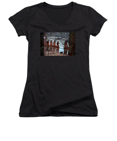 New Manchester Manufacturing Company Ruins Women's V-Neck T-Shirt