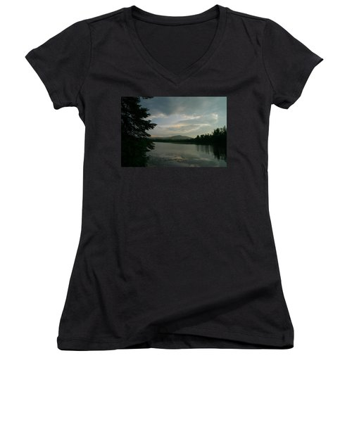 Women's V-Neck T-Shirt (Junior Cut) featuring the photograph New Morning On Lake Umbagog  by Neal Eslinger