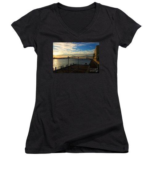 Women's V-Neck T-Shirt (Junior Cut) featuring the photograph New Orleans Bridge by Erika Weber