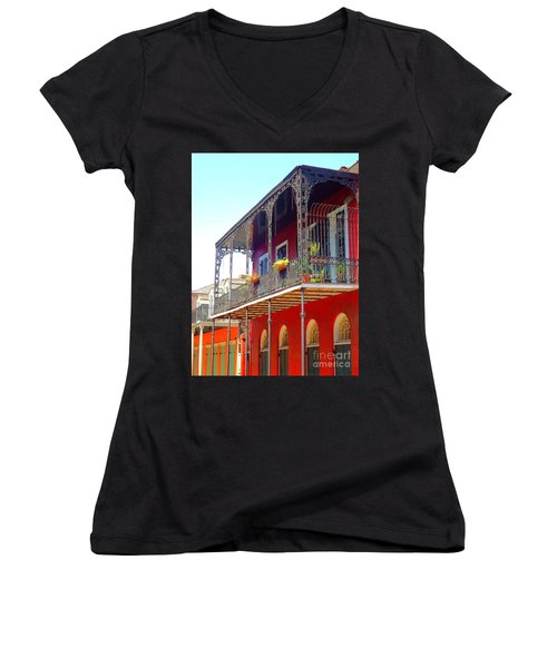 New Orleans French Quarter Architecture 2 Women's V-Neck T-Shirt (Junior Cut) by Saundra Myles