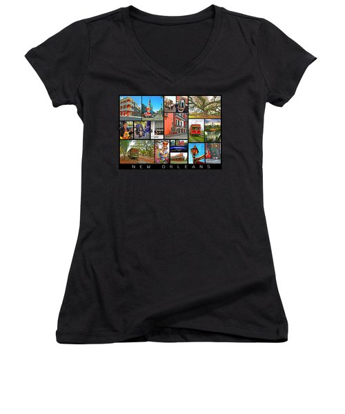 New Orleans Women's V-Neck T-Shirt (Junior Cut) by Steve Harrington