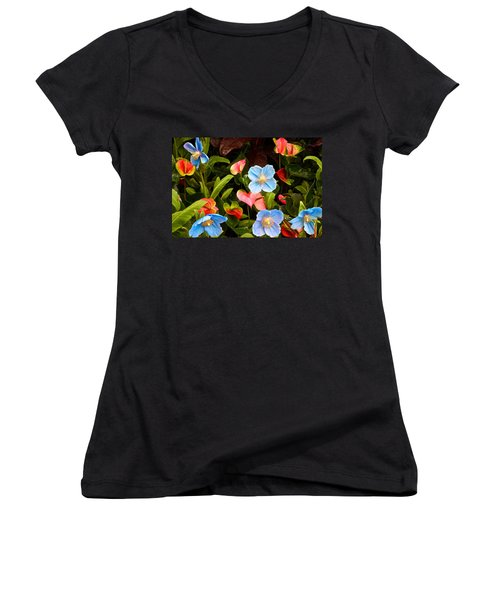 Women's V-Neck featuring the photograph New World And Old World Exotic Flowers by Byron Varvarigos