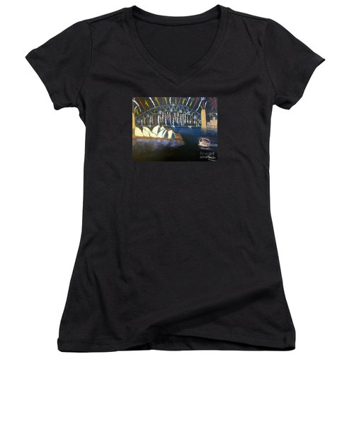 Women's V-Neck T-Shirt (Junior Cut) featuring the painting New Year Eve On Sydney Harbour by Pamela  Meredith