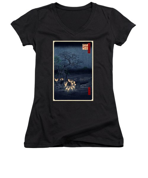 New Years Eve Foxfires At The Changing Tree Women's V-Neck