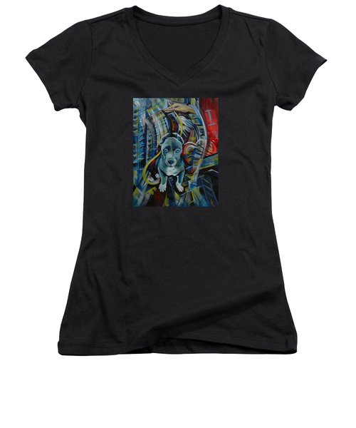 Women's V-Neck T-Shirt (Junior Cut) featuring the painting New York by Anna  Duyunova