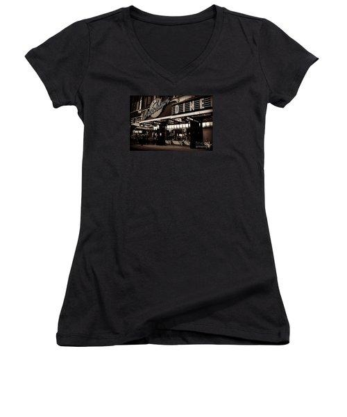 New York At Night - Brooklyn Diner - Sepia Women's V-Neck T-Shirt (Junior Cut) by Miriam Danar