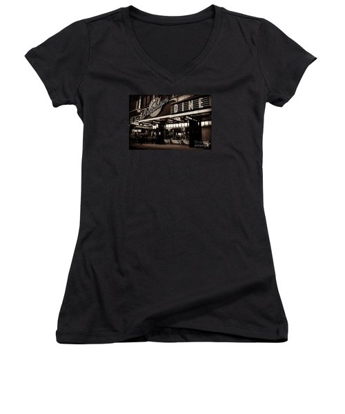 New York At Night - Brooklyn Diner - Sepia Women's V-Neck (Athletic Fit)