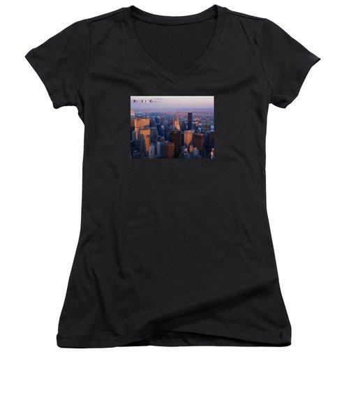 New York City At Dusk Women's V-Neck T-Shirt