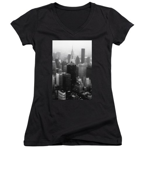 New York City - Fog And The Chrysler Building Women's V-Neck T-Shirt (Junior Cut) by Vivienne Gucwa