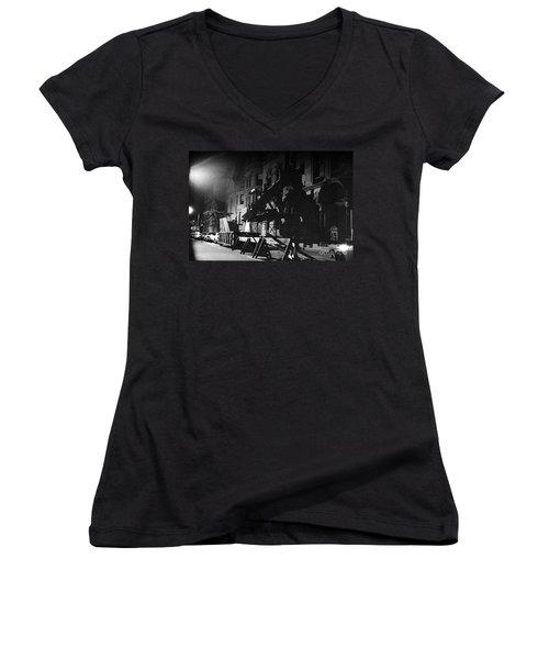 Women's V-Neck T-Shirt (Junior Cut) featuring the photograph New York City Street by Steven Macanka