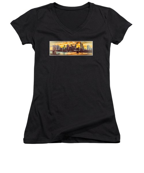 New York City Summer Panorama Women's V-Neck (Athletic Fit)