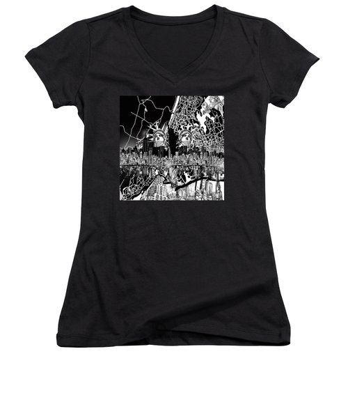 New York Map Black And White 2 Women's V-Neck T-Shirt (Junior Cut) by Bekim Art