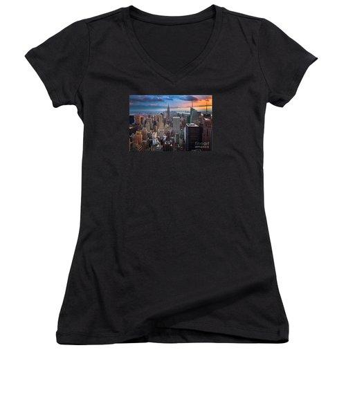 New York New York Women's V-Neck T-Shirt (Junior Cut) by Inge Johnsson
