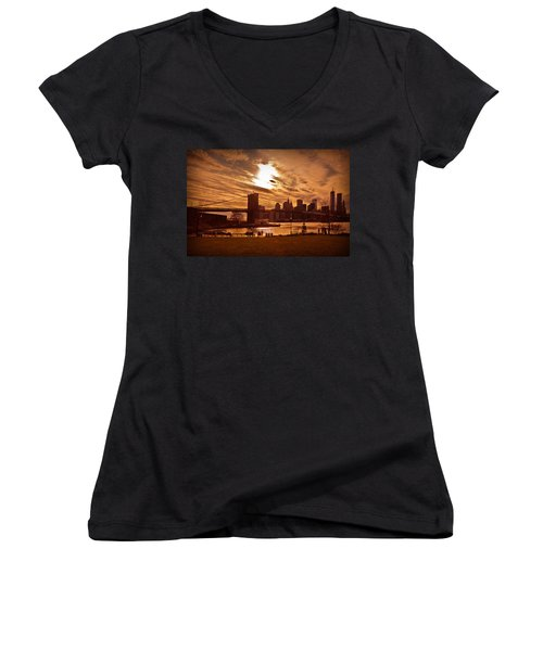 Women's V-Neck T-Shirt (Junior Cut) featuring the photograph New York Skyline And Brooklyn Bridge -- Late Afternoon by Mitchell R Grosky