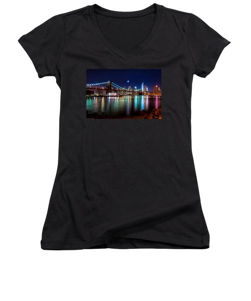 New York Skyline And Brooklyn Bridge With Crescent Moon Rising Women's V-Neck T-Shirt