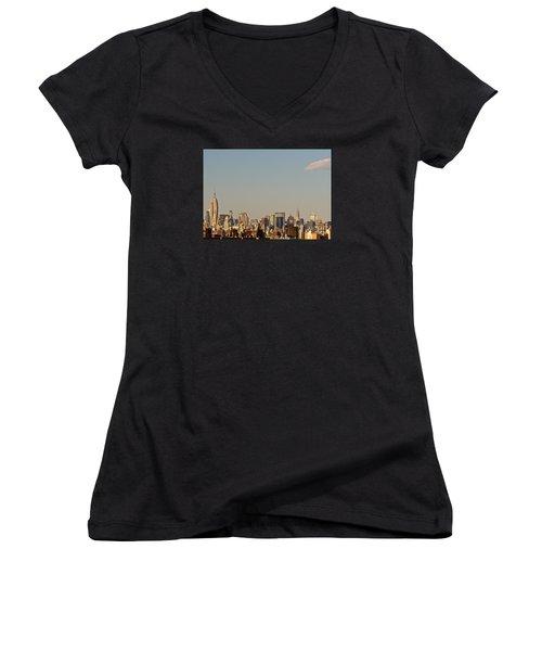 Women's V-Neck T-Shirt (Junior Cut) featuring the photograph New York City Skyline by Kerri Farley