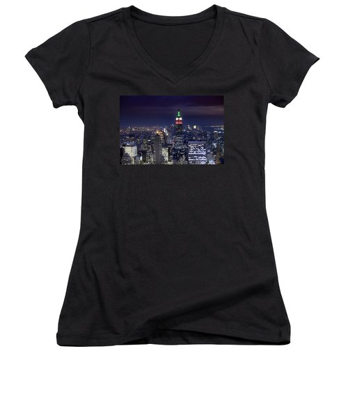 New York Skyline Night Color Women's V-Neck