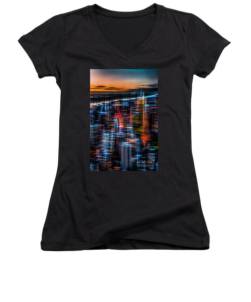 New York- The Night Awakes - Orange Women's V-Neck