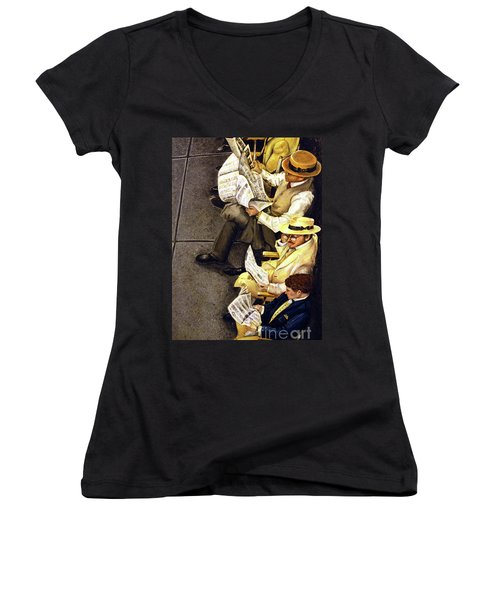 New York Times Women's V-Neck T-Shirt (Junior Cut) by Linda Simon