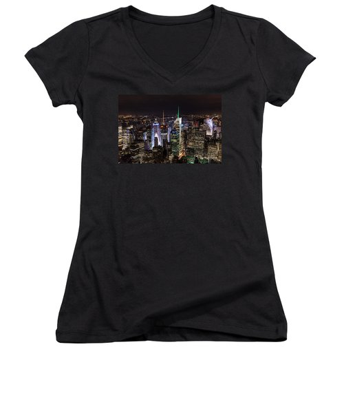 New York Times Square Women's V-Neck T-Shirt (Junior Cut) by Matt Malloy