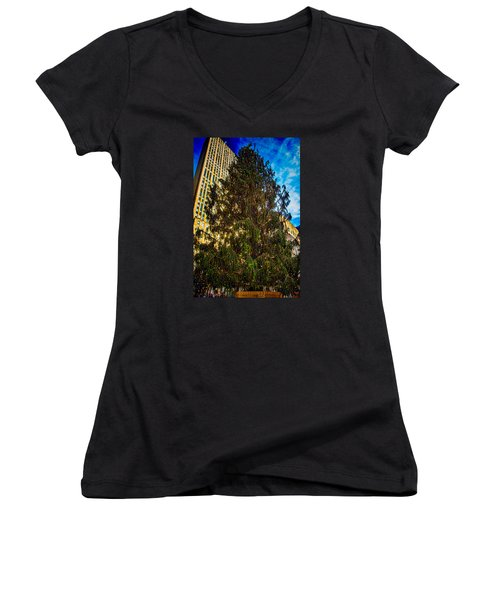 Women's V-Neck T-Shirt (Junior Cut) featuring the photograph New York's Holiday Tree by Chris Lord