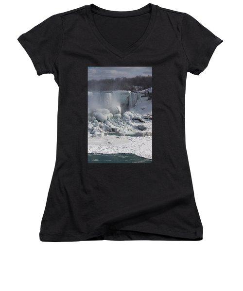 Niagara Falls Ice Buildup - American Falls New York State U S A Women's V-Neck