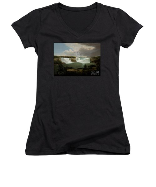 Niagra Falls By Alvan Fisher Women's V-Neck T-Shirt