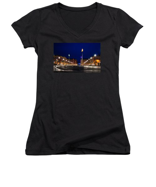 Women's V-Neck T-Shirt (Junior Cut) featuring the photograph Nice France - Place Massena Blue Hour  by Georgia Mizuleva