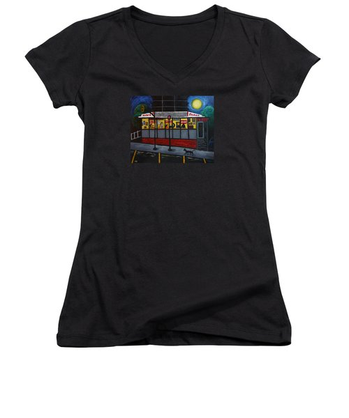 Women's V-Neck T-Shirt (Junior Cut) featuring the painting Night At An Arlington Diner by Victoria Lakes