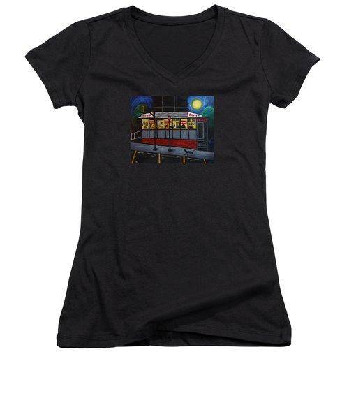 Night At An Arlington Diner Women's V-Neck T-Shirt