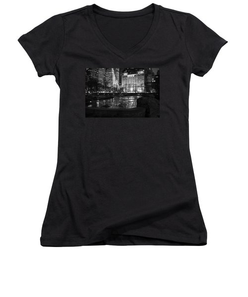 Night Central Park Lake H Women's V-Neck