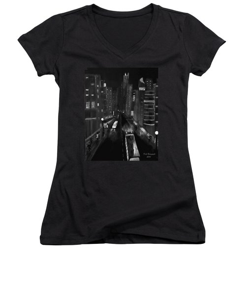 Night City Scape Women's V-Neck T-Shirt